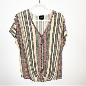 Anthropologie W5 Striped Rib Knit Tie Front Top L
